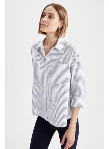 DeFacto Çizgili Cep Detaylı Oversize Fit Yarım Kollu Gömlek Tunik Mavi